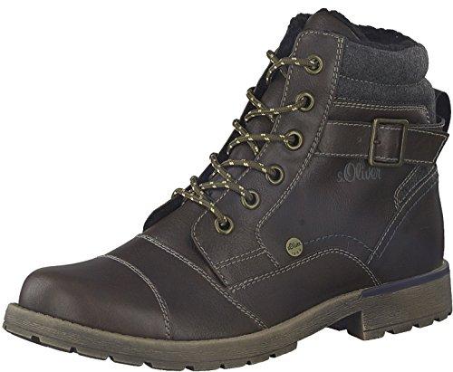s.Oliver Herren Winterstiefel 16209-21,Männer Winter-Boots,Fellboots,Fellstiefel,gefüttert,Warm,Blockabsatz 2.5cm,Dark Brown,EU 40