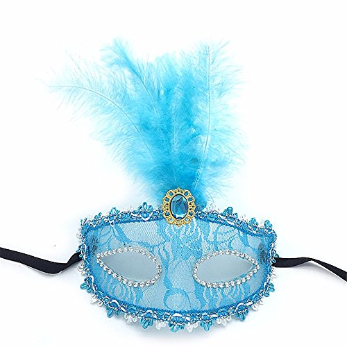 Maskerade,Feather Maske Party Catwalk Make-up Tanz halb Gesicht Spitze Maske sexy transparent Halloween Maske weiblich blau ()