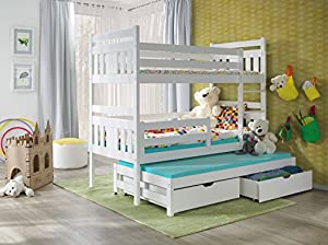 Furniture4House BUNK BEDS MEGGI 3FT WHITE WOODEN CHILDREN TRIPLE BUNK BEDS WITH MATTRESSES AND STORAGE DRAWERS/WHITE,PINE,BLUE,PINK COLOURS AVAILABLE