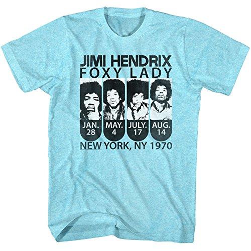 Jimi Hendrix - Herren New York New York T-Shirt Neon Blue Heather