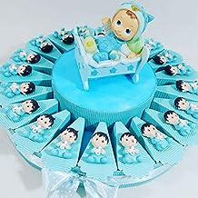 (25 recordatorios + hucha) tarta con recordatorios de bautizo, nacimiento, masculina,