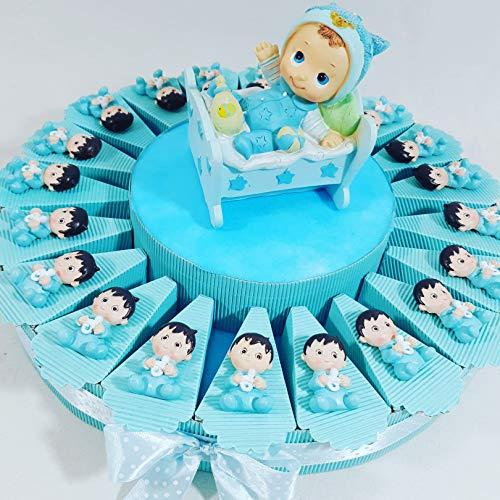 TORTA BOMBONIERA per nascita battesimo 1 compleanno Bambino maschietto composta da 20 fette con 20 oggetti calamita bimbo, Materiale in resina . Imagnete bimbo(Dimensione:4 cm circa) + centrale + torta + confetti IDEALE PER eventi come battesimo nasc...