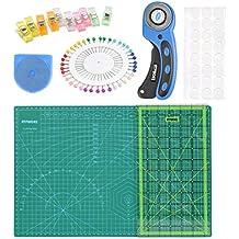 OFNMY Kit de 80pcs con A3 Alfombrilla de Corte + Cúter Rotativo de 45mm + Cuchilla