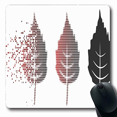 Luancrop Mousepads für Computer Dissipating Red Black Birch Leaf Aufgelöste Pixelated Dematerialization Abstract Bio Botanik Burst rutschfeste Oblong Gaming Mouse Pad