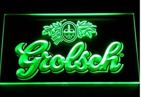 Grolsch Bier LED Zeichen Werbung Neonschild Grün (Led Schilder, Bier)