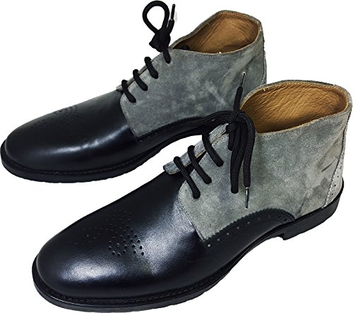 Original Chelsy-Style pleine italienne Designer Bottines d'équitation Daim Cuir de veau Mix Gris robuste Semelle Caoutchouc Multicolore - Grau/Blau