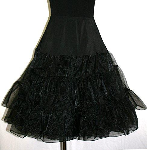 L.O.S 50er 60er Jahre Petticoat, Tüllrock, Dirndl Rock, Unterrock, Hochzeit, Schwarz 38-42, M/L