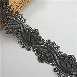 Ruban en dentelle noire en polyester - Longueur : 3,65 m - Largeur : 4.2 cm - Style vintage - Pour ourlet, bordure, applique, couture, travaux manuels, robe de mariée, bricolage, décoration, broderie