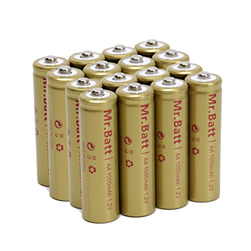 Mr.Batt NiCd AA Rechargeable Batteries For Solar Lights, 1000mAh 1.2V Low Self Discharge (16 Pack)
