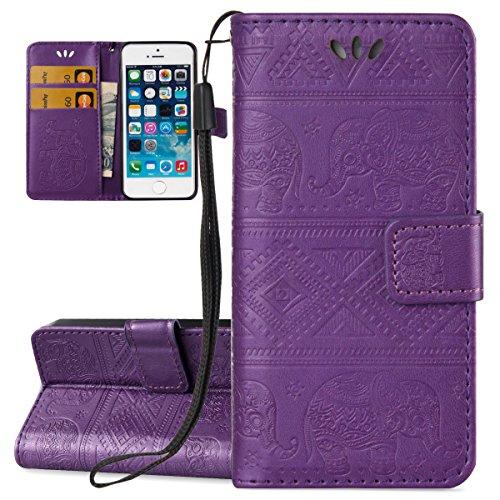 Custodia iPhone SE, ISAKEN Custodia iPhone 5S, Cover iPhone 5 Flip Case, Elegante borsa Custodia in Pelle Protettiva Portafoglio Case Cover per Apple iPhone 5 5S SE / con Supporto di Stand / Carte Slo Elefante: violet