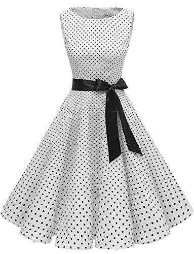 Gardenwed Damen 1950er Vintage Cocktailkleid Rockabilly Retro Schwingen Kleid Faltenrock White Small Black Dot M