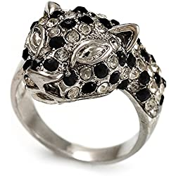Diamante 'leopardo' anillo plateado rodio