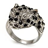 Diamante 'leopardo' anillo plateado rodio