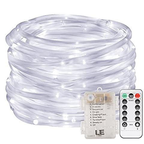 LE LED Dimmable Rope Lights, 10m 120 LEDs Waterproof 8 Modes, Battery Powered, String Lights for Garden Patio Party Christmas Outdoor Decoration, Daylight