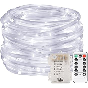 Le Led Dimmable Rope Lights 10m 120 Leds Waterproof 8 Modes Battery Powered String Lights For Garden Patio Party Christmas Outdoor Decoration
