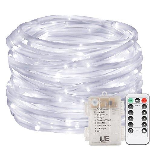 LE 120er LED Lichterschlauch 10M Kaltweiß Batteriebetriebe 8 Modi mit Memory-Funktion für Innen Außen Party Weihnachten Dekolicht
