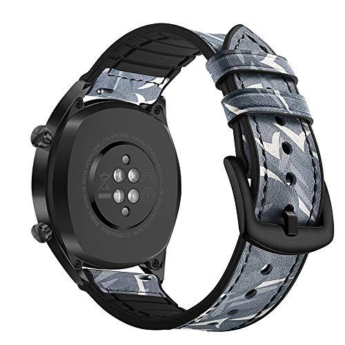 AISPORTS Ersatz-Armband für Samsung Gear S3 Frontier/Classic Band Leder Silikon Hybrid 22 mm Armband Ersatz Band für Huawei Watch GT/Honor Watch Magic/Samsung Galaxy Watch 46 mm Schwarz/Camouflage