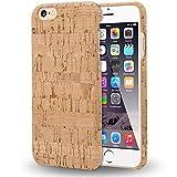 NALIA Sughero Custodia per iPhone 6 6s, Sottile Cover Effetto Legno Hard-Case Protettiva per Cellulare, Rigida Protezione Ultra-Slim Bumper per Telefono Apple i-Phone 6s 6, Designs:Light Cork