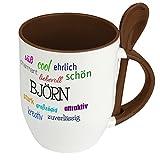 Löffeltasse mit Namen Björn - Positive Eigenschaften von Björn - Namenstasse, Kaffeebecher, Mug, Becher, Kaffeetasse - Farbe Braun