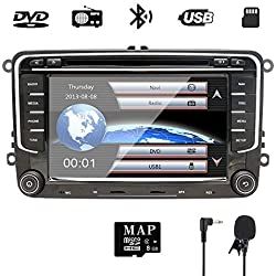 NVGOTEV 2 Din Car Stereo GPS Navigator Head Unit for Golf VW Skoda Seat,7 Inch Double Din Head Unit with DVD CD Player Support GPS, USB SD, FM AM RDS, Bluetooth, SWC