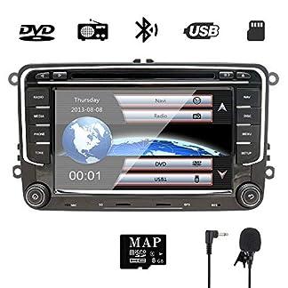 NVGOTEV-7-Inch-Double-Din-Car-Stereo-for-VWGolfPassatSkodaJettaTiguanSeat-with-Wince-System-DVD-Player-GPS-Navigation-FM-AM-Radio-Bluetooth-USB-SD-SWC-1080P-Video-8-GB-Map-Card