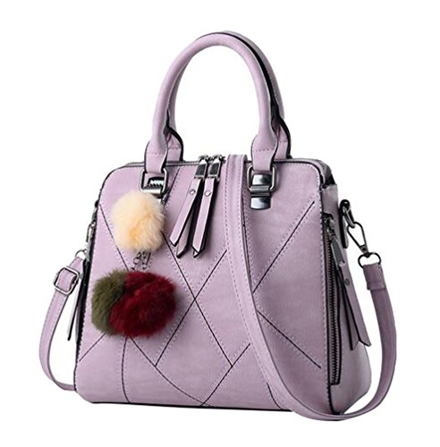 Baymate Frauen PU Leder Tasche Umhängetasche Gedruckt Messenger Bag Elegant Handtasche Licht Violett