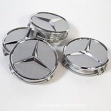 CAR PARTS 4 x Tapones Tapacubos Plateado Logo Mercedes DE 75 mm – Clase A B C E CLK