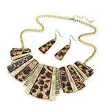 SODIAL Joya Aretes Collar de Leopardo Bohemio de Estilo Mixto de Mujer