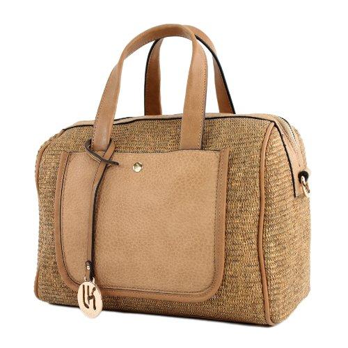 Damentasche Handtasche Tasche Tragetasche Shopper Stoff & Kunstleder TOP4, Präzise Farbe:LK138084 Camel (Stoff Handtaschen Camel)