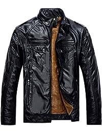 Zicac-Blouson & jacket en cuir manches longues doublure en laine pour l`hiver (XL, noir)