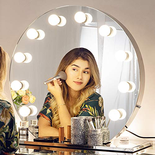 Chende Schminkspiegel mit Dimmbar Glühbirnen, LED Beleuchtet Makeup-Spiegel für Frisierkommode, Umkleideraum, 12 Freie Glühbirnen (Rund Rahmenlos) (12 Runden Tisch Spiegel)