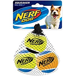 NERF Pack of 3 Balle de Tennis/Jouet Sonore pour Chien 5 cm