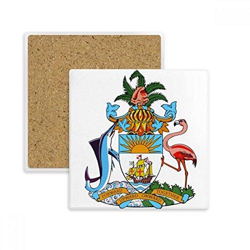 DIYthinker Nassau Bahamas National Emblem Quadrat Coaster-Schalen-Becher-Halter Absorbent Stein für Getränke 2ST Geschenk Mehrfarbig Bahama Becher