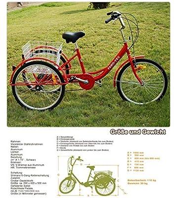 """ZNL FANO-TEC Dreirad Für Erwachsene Lastenfahrrad Erwachsenendreirad 24"""" 6-Gang-Schaltung Shimano Seniorenrad FT-7009 Rot"""