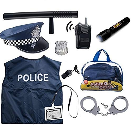 Kind Kit Kostüm - Born Toys 11 Pcs Police Costume for Kids with Toy Role Play Kit for Swat, Detective, FBI, Halloween and Dress-up ...