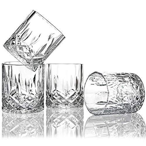 Lead Free Crystal Whiskey Gläser (Set of 6)-7.5 Oz Unique Bourbon Glass-Ultra-Clarity Double Old Fashioned Glasses-Wine Brandy Beer Vodka Vintage Cocktail 4 Double Old Fashioned Gläser