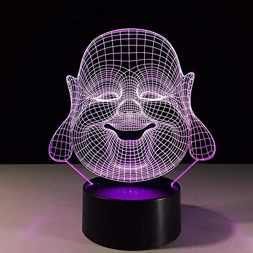 NANIH Home Lámpara de Buda 3D 8 Colores Que cambian la luz...