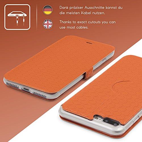 Urcover® iPhone 7 Plus / 8 Plus Sunflower Klapp Handy Schutz-Hülle Cover [ Stand-Funktion ] Wallet Case mit Kick-Stand Hülle für Apple iPhone 7 Plus / 8 Plus Weiß Orange