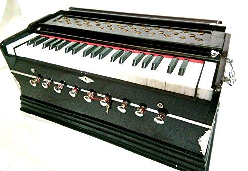 Indischer Maharadscha Harmonium Nr. 5200N-9Stop-Sangeeta-3½ Oktave-mit Kupplung, mit Buch & Tasche-dran zu A440-Mahagoni Farbe