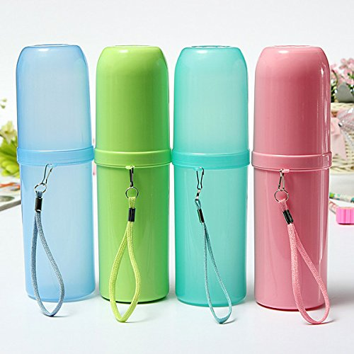 Homgaty Travel Toothbrush Toothpaste Holder Cover Hiking Camping Tooth Brush Case Box Water Cup(Candy Green)