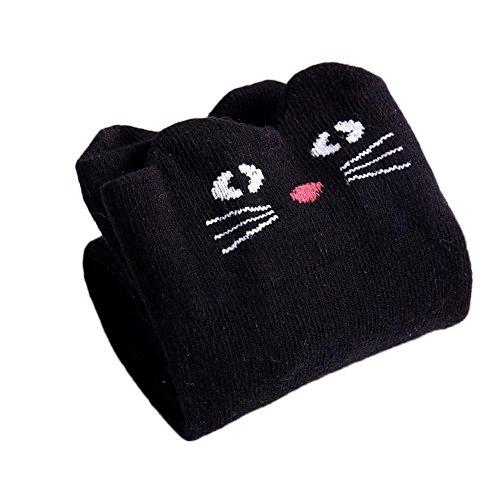 ZHUOTOP Niñas Calcetines hasta la rodilla Medias de algodón Animal de dibujos animados sobre la pantorrilla Calcetines largos 3-12 años Gato negro