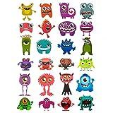 Oblique Unique® 24 lustige Bunte Monster Sticker Aufkleber