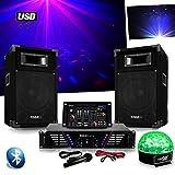 Pack Sono DJ300 ampli + enceintes 500W + Table de mixage USB BLUETOOTH + Astro SIXMAGIC LED RVB