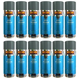 12x Hycote Grey Primer Spray Paint 400ml