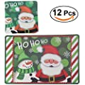 Tinksky Christmas Placemats Cushions Cup Coasters Dining Table Mats Waterproof Non-slip Nonstick Heat Resistant Christmas Decoration Gifts 12pcs (Green) - inexpensive UK light shop.