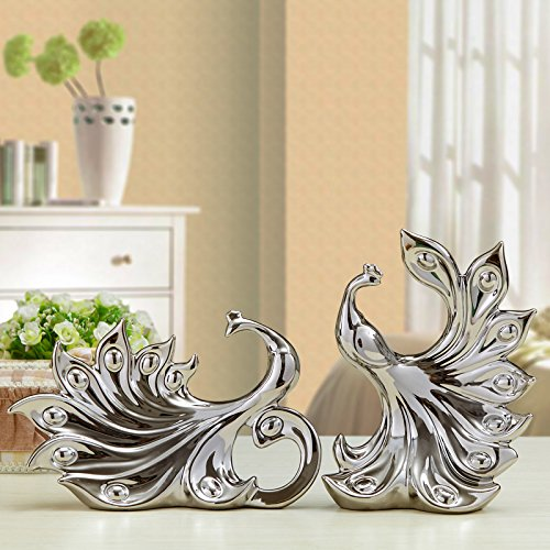 Sculpture Figures Statues Decoration Electroplating Ornaments Gold And Silver Ornaments Living Room TV Cabinet Wine Cabinet Display Of Gifts Bridal Girlfriends Wedding Gifts, Silver Peacock Pair