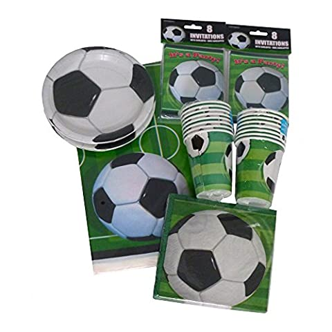 Football / Soccer Birthday Party Pack - Football themed Boys Partyware - Boys Birthday Party set for 16