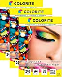 Colorite Inkjet High Glossy Photo Paper 240 Gsm A4 /20 Sheets x 3 Pack (60 Sheets) Amazon