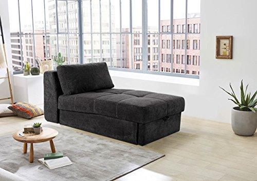 lifestyle4living Recamiere in schwarzem Microfaser, Sofa mit Gästebettfunktion und Bettkasten, Pflegeleichte Schlafcouch inkl. Rückenkissen.