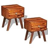 Festnight 2er-Set Retro Nachtschrank Nachttisch Beistelltisch aus Massiver Sheesham-Holz Vintage